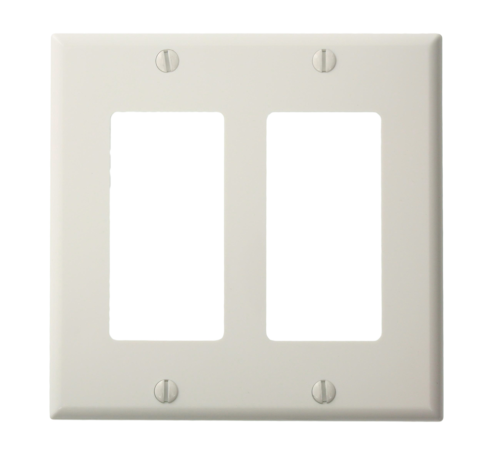 LEV 80409-NW 2-Gang Decora/GFCI Device Decora Wallplate, Standard Size, White cs=1