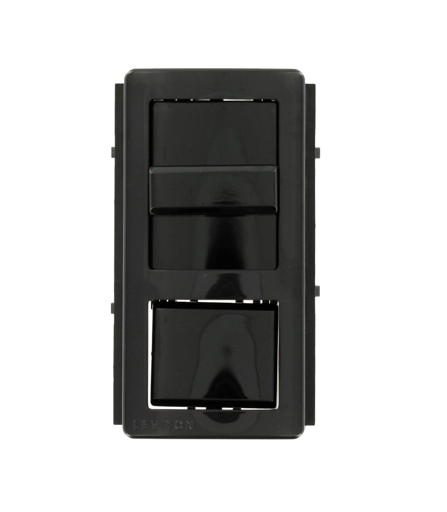 LEVIPKIT-LNE ILLUMATECH COLOR CONVERSION KIT, SNAP-ON FRAME WITH SLIDER, AND NON-LIGHTED PUSH BUTTON, BLACK, LEVITON