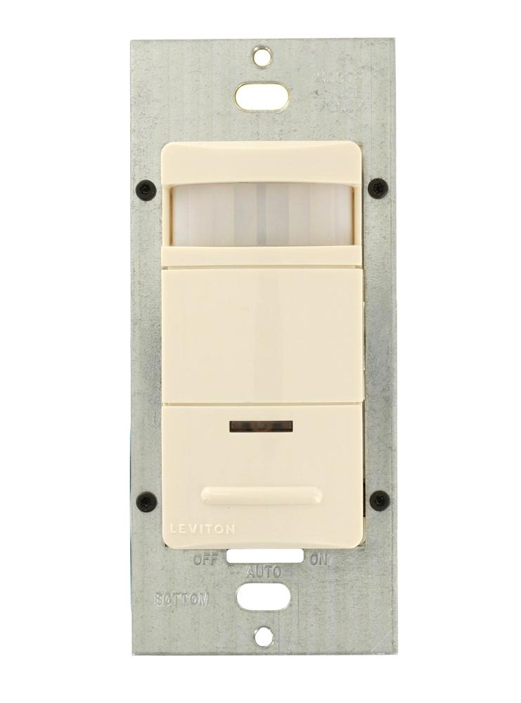 Leviton® Decora® ODS15-TDT 1-Pole Vacancy Sensor, 120/230/277 VAC, PIR Sensor, 2100 sq-ft Coverage, 180 deg Viewing, Wall Mount