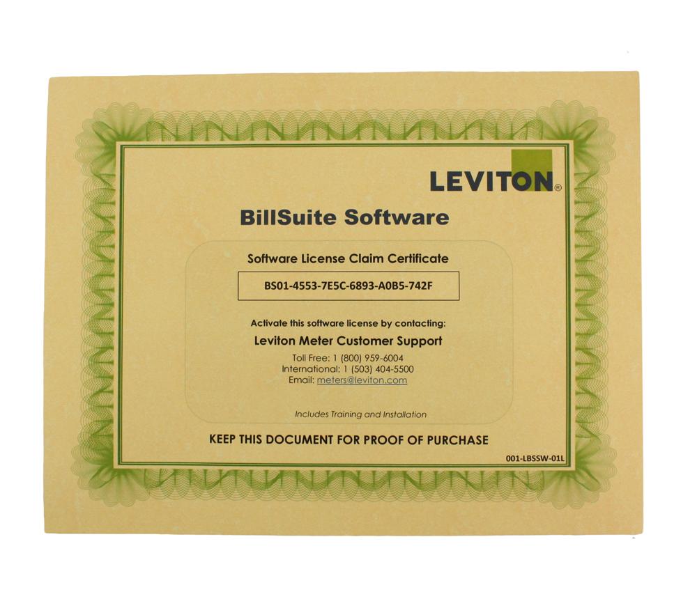 Leviton,LBSSW-1L,VerifEYE™ LBSSW-1L Tier 1 BillSuite Software, Title BillSuite