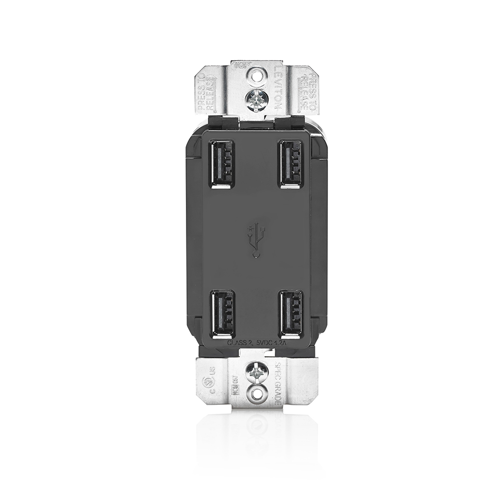 Wiring Devices Combination Receptacles Usb Ports Steiner Cooper 15 Amp Decorator Charging Electrical Outlet Leviton Usb4p E 4 Port Device Black