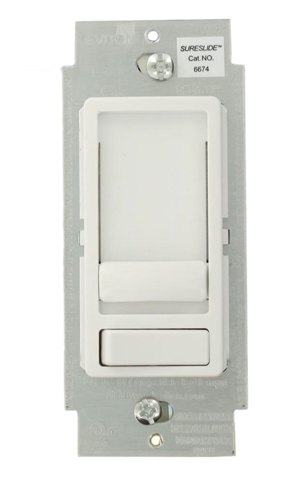 6674-10W LEV DECORA LED/CFL/INCAND SLIDE DIMMER WHITE