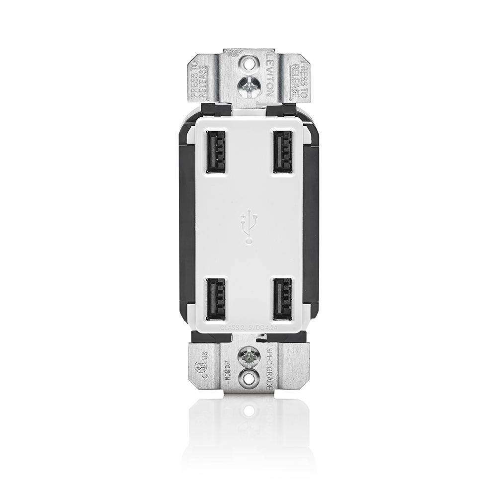 LEV USB4P-W 4.2A 4-port USB Charger Decora Style. - White CS=8