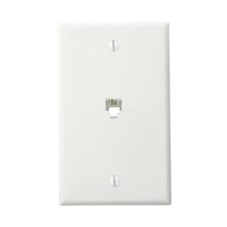 LEV 40249-W Standard Telephone Wall Jack, 6P4C, Screw Terminals, White cs=1