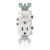 Leviton® 5225-W Duplex Combination Switch and Receptacle, 15 A, 120/277 VAC, 1/2 hp at 120 VAC, 2 hp at 240/277 VAC, 1 Poles, 14 to 12 AWG Wire