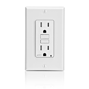 LEV AFTR1-W SmartlockPro Outlet Branch Circuit Arc-Fault Circuit Interrupter Receptacle 15-Amp 120-volt White cs=1