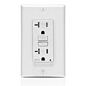LEV AFTR2-W SmartlockPro Outlet Branch Circuit Arc-Fault Circuit Interrupter Receptacle 20-Amp 120-volt White cs=1.000