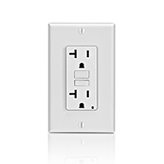 LEV GFNT2-I 20 Amp, 125 Volt Receptacle/Outlet, 20 Amp Feed-Through, Self-test SmartLock Pro Slim GFCI, monochromatic, back and side wired, wallplate/faceplate and self grounding clip included - IVORY cs=1
