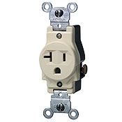 LEV 5801-W 20-Amp, 125-Volt, Narrow Body Single Receptacle, Straight Blade, Commercial Grade, Grounding, White cs=10
