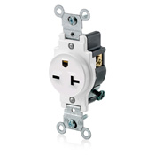 LEV 5821-W 20-Amp, 250-Volt, Narrow Body Single Receptacle, Straight Blade, Commercial Grade, Grounding, White cs=10
