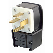 LEV8452-P LEV 8452-P ANGLE PLUG 15-50P;Leviton® Black & White® 8452-P 3-Phase Angled Cable Mount Grounding Straight Blade Plug, 250 VAC, 50 A, 3 Poles, 4 Wires, Black