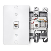 LEV 40253-W Telephone Wall Phone Jack, 6P4C, White cs=1