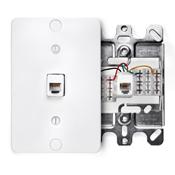 LEV 40253-W WHITE WALL PHONE JACK