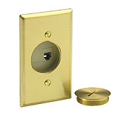 FLOOR BOX 2-PORT 6P6C JACK BLANK BRASS