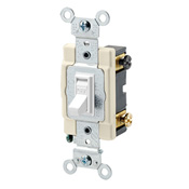 LEV 54522-2W 20-Amp, 120/277-Volt, Toggle Framed Double-Pole AC Quiet Switch, Commercial Grade, Grounding, White cs=1
