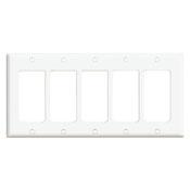 LEV 80423-W 5-Gang Decora/GFCI Device Decora Wallplate, Standard Size, Thermoset, Device Mount, White cs=10