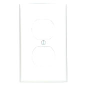 LEV 80703-W 1-Gang Duplex Device Receptacle Wallplate, Standard Size, Thermoplastic Nylon, Device Mount, White cs=1