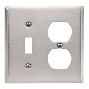 LEVITON 84005 : 2 GANG STAINLESS STEEL PLATE-1SWITCH&1DUPLEX RECEPTACLE