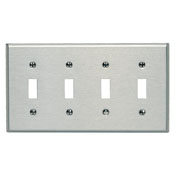 LEVITON 84012 : 4 GANG STAINLESS STEEL SWITCH PLATE