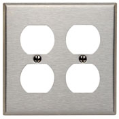LEVITON 84016 2 GANG STAINLESS STEEL DUPLEX RECEPTACLE PLATE