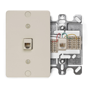 LEV 40253-I Telephone Wall Phone Jack, 6P4C, Ivory cs=1