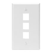 LEV 41080-3WP QuickPort Wallplate, Single Gang, 3-Port, White cs=25
