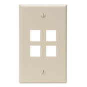 LEV 41080-4IP QuickPort Wallplate, Single Gang, 4-Port, Ivory cs=1