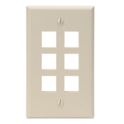 LEV 41080-6IP QuickPort Wallplate, Single Gang, 6-Port, Ivory cs=1