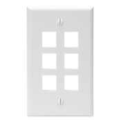 LEVITON 41080-6WP : WHITE 6 PORT WALLPLATE