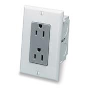 LEV 47605-ACN J-Box Kit Duplex Receptacle, Gray and White cs=1