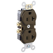 LEV CR20 20 Amp, 125 Volt, NEMA 5-20R, 2P, 3W, Narrow Body Duplex Receptacle, Straight Blade, Commercial Grade, Self Grounding, Side Wired, Steel Strap - BROWN cs=10