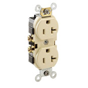 LEV CR20-I 20A, 125V, NEMA5-20R, 2P, 3W, Narrow Body Duplex Receptacle, Straight Blade, Commercial Grade, Self Grounding, , , Side Wired, - Ivory cs=10/100