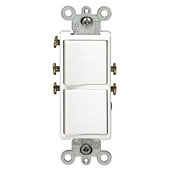 Leviton® Decora® 5634-T 3-Way Dual Grounding Combination Switch, 15 A, 120/277 VAC, 1 Poles
