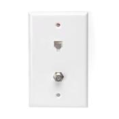 LEV 40258-W Standard Telephone Wall Jack, 6P6C X F, White cs=1