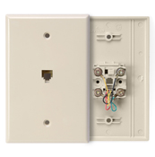 LEV 40549-I Type 625B4 Telephone Midway Wall Plate Flush Mount Jack, 1 Modular 6P4C Jack, Screw Terminals, Ivory cs=1