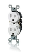 LEV W5320-T0W 15 Amp, 125 Volt, Weather and Tamper Resistant, Duplex Receptacle, Grounding, Side and Quickwire, White cs=1