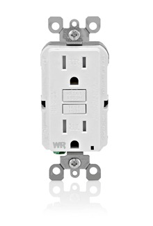 LEV GFWT1-W Self-Test Tamper Resistant, Weather Resistant GFCI Receptacle. Nema 5-15R, 15A-125V At Receptacle, 20A-125V Feed-through - White With White Test And Reset Buttons cs=10/100