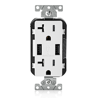 LEV T5832-W 20A TR RECPT USB CHARGER