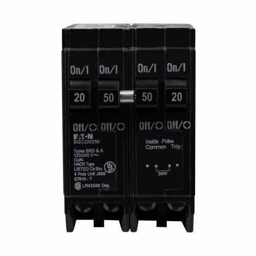 CUT BQC220250 BQC Quad Breaker 1-20A/2P 1-50A/2P Com. Trip 120/240V 10K