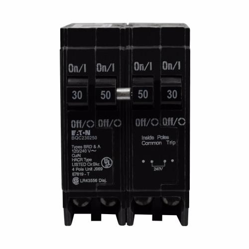 CUT BQC230250 BQC Quad Breaker 1-30A/2P 1-50A/2P Com. Trip 120/240V 10K