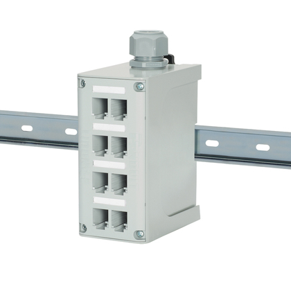 FDME8RG PAN 8-PORT DIN RAIL FIBER OPTIC ENCLOSURE