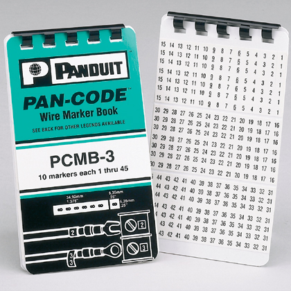 Panduit,PCMB-3,Panduit® PCMB-3 Pre-Printed Wire Marker Book, 1.38 in L x 0.22 in W, 1 - 45 Legend, Black on White Legend/Background
