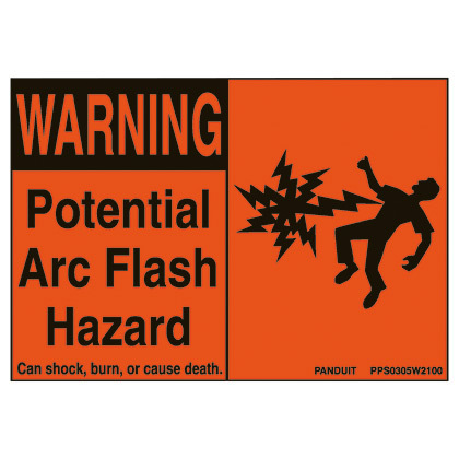 PPS0204W2100A PAN ADHESIVE SIGN POLYESTER 'WARNING ARC F