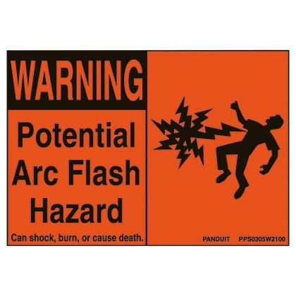 Panduit,PPS0305W2100,Panduit® PPS0305W2100 Basic Pre-Printed Arc Flash Label, 3-1/2 in H x 5 in W, Black/Orange Legend/Background