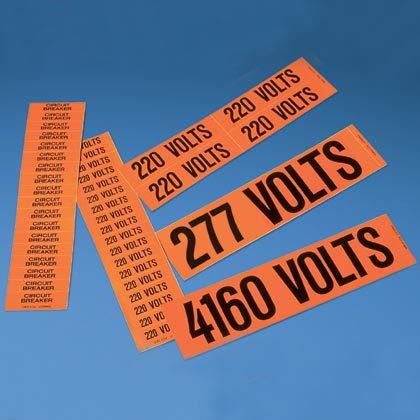 Panduit,PCV-120/208AY,Panduit® PCV-120/208AY Pre-Printed Style A Voltage Marker, 9 in L Label, 2-1/4 in W Label, Black Legend, Vinyl