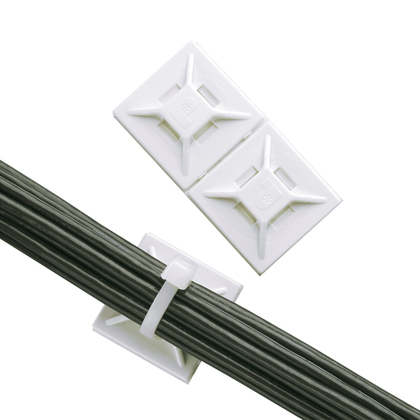 Panduit,ABMM-A-C,Panduit® ABMM-A-C Cable Tie Mount, 4-Way, Adhesive Mount, 0.15 in W Max, ABS, White