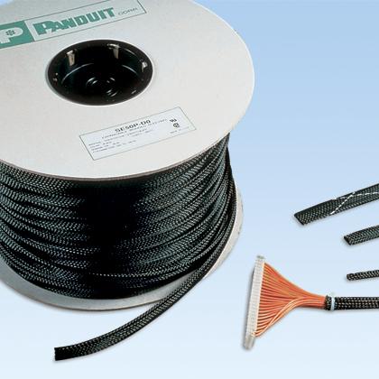 Panduit,SE25P-TR0,Panduit® Pan-Wrap™ SE25P-TR0 Expandable Braided Sleeve, 1/4 in Dia x 200 ft L, Polyethylene Terephthalate, Black