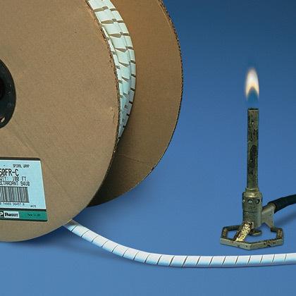 Panduit,T50FR-C20Y,Panduit® T50FR-C20Y Spiral Wrap, 1/2 in Dia x 100 ft L x 0.06 in THK, Flame Retardant Polyethylene, Black