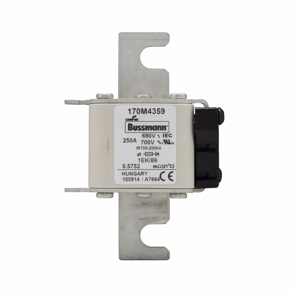 Cooper Bussmann North America Elect,170M4359,Bussmann 170M4359 Semiconductor Fuse, 250 A, 700 V, 200 kA Interrupt, Class AR, Square Body Body