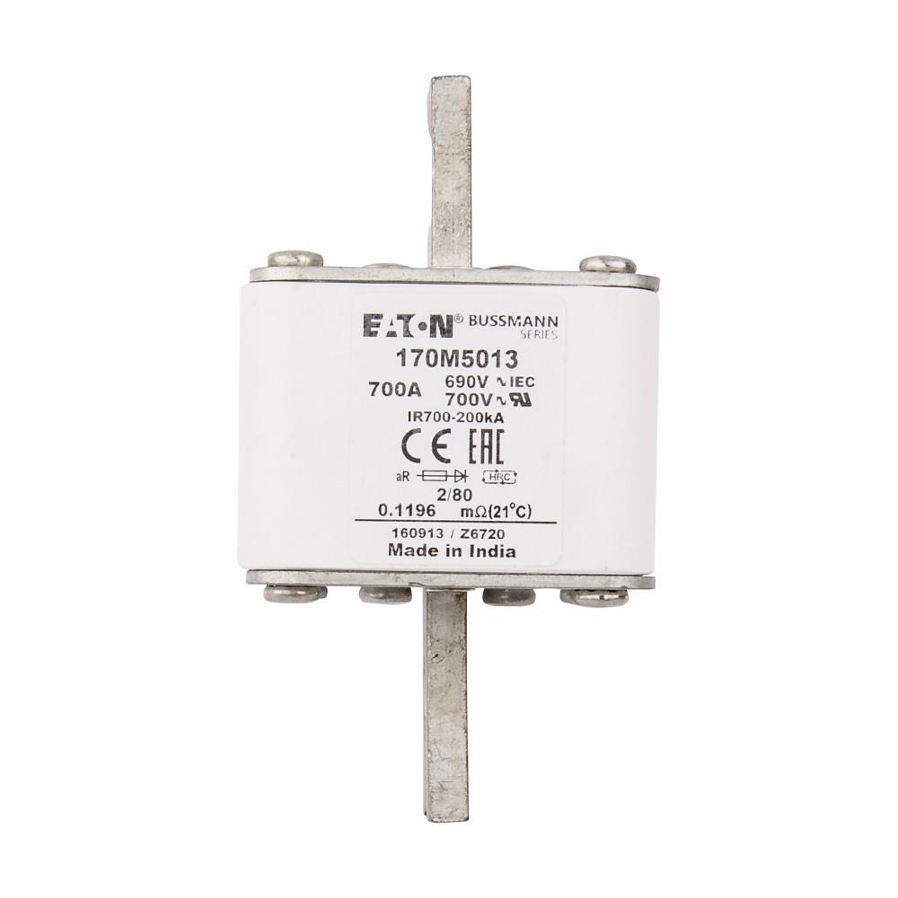 Cooper Bussmann North America Elect,170M5013,Bussmann 170M5013 Semiconductor Fuse, 700 A, 1250 V, 200 kA Interrupt, Class AR, Square Body